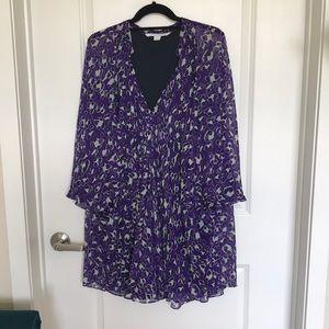 Diane von Furstenberg Purple Deep V Flowy Dress
